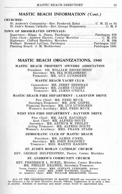 MASTIC BEACH DIRECTORY 1940